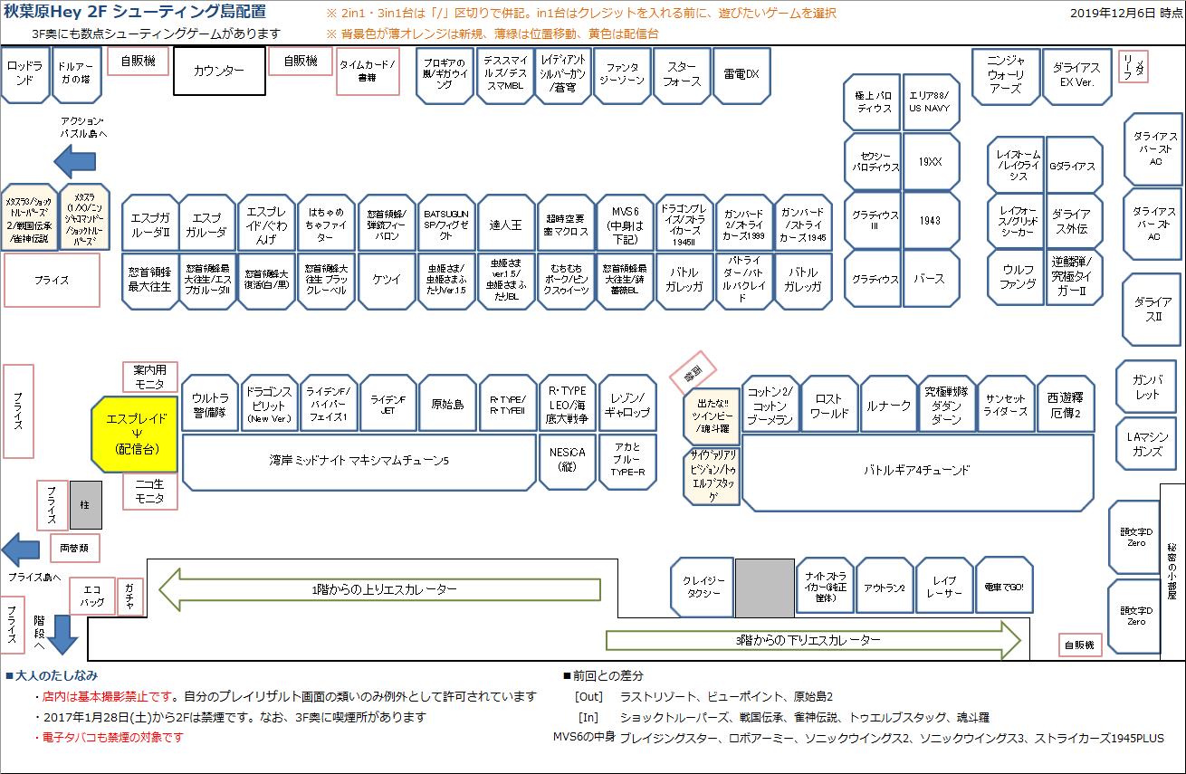秋葉原Hey 2Fシューティング島の配置図 20191206
