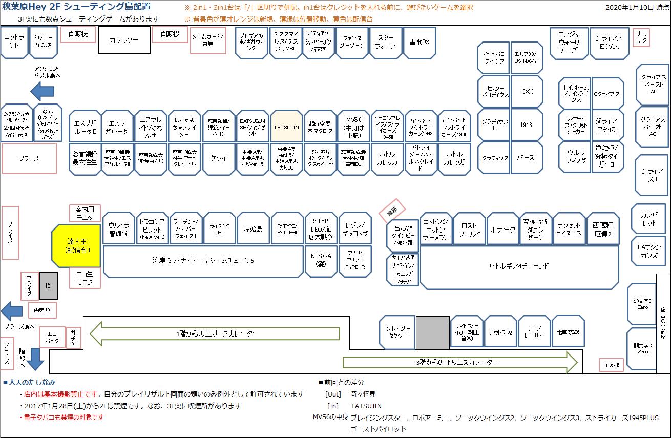 秋葉原Hey 2Fシューティング島の配置図 20200110