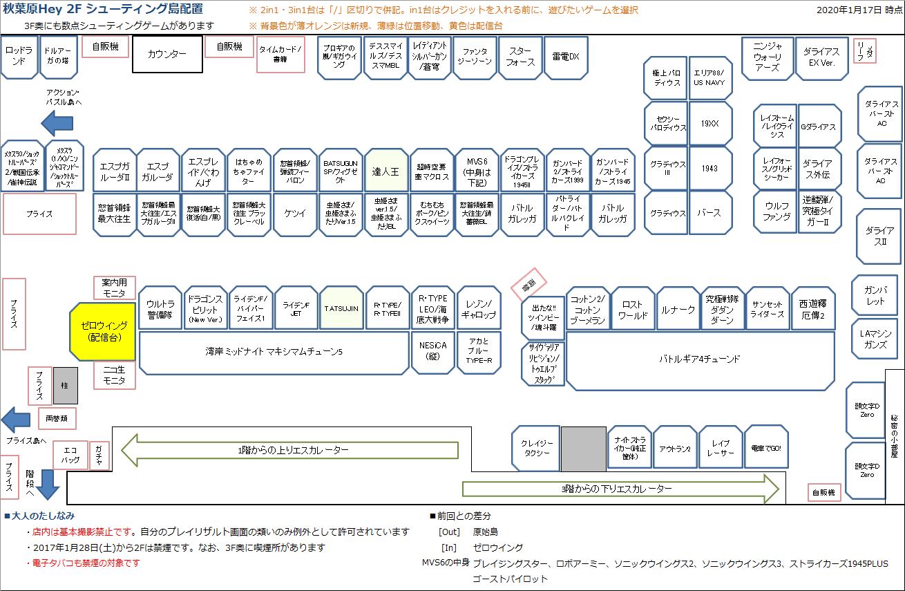 秋葉原Hey 2Fシューティング島の配置図 20200117