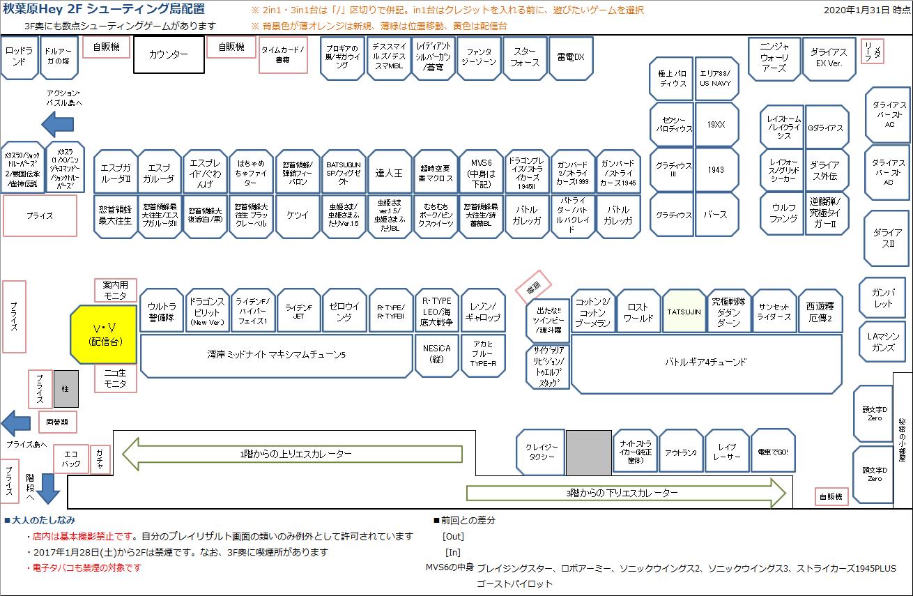 秋葉原Hey 2Fシューティング島の配置図 20200131