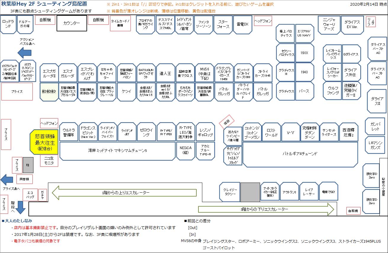 秋葉原Hey 2Fシューティング島の配置図 20200214