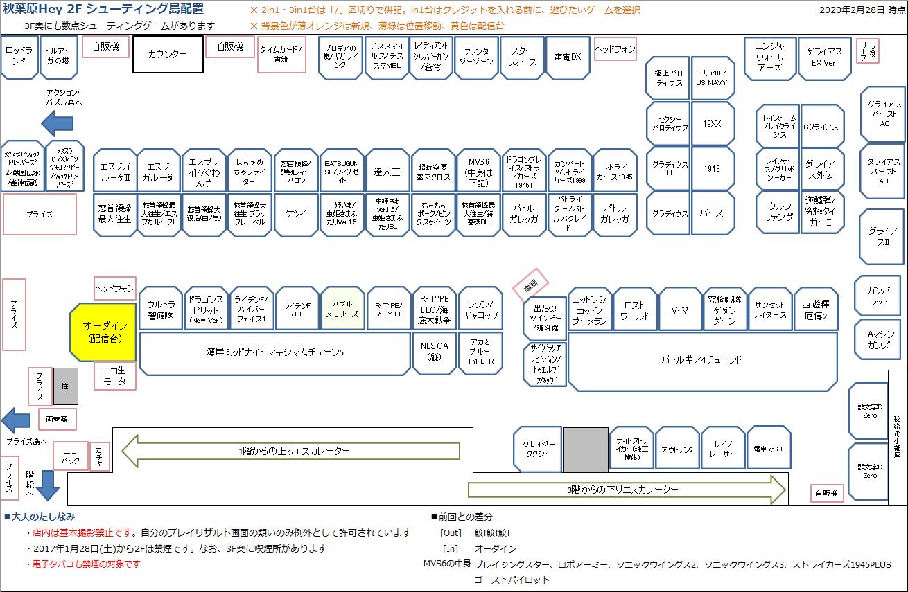 秋葉原Hey 2Fシューティング島の配置図 20200228