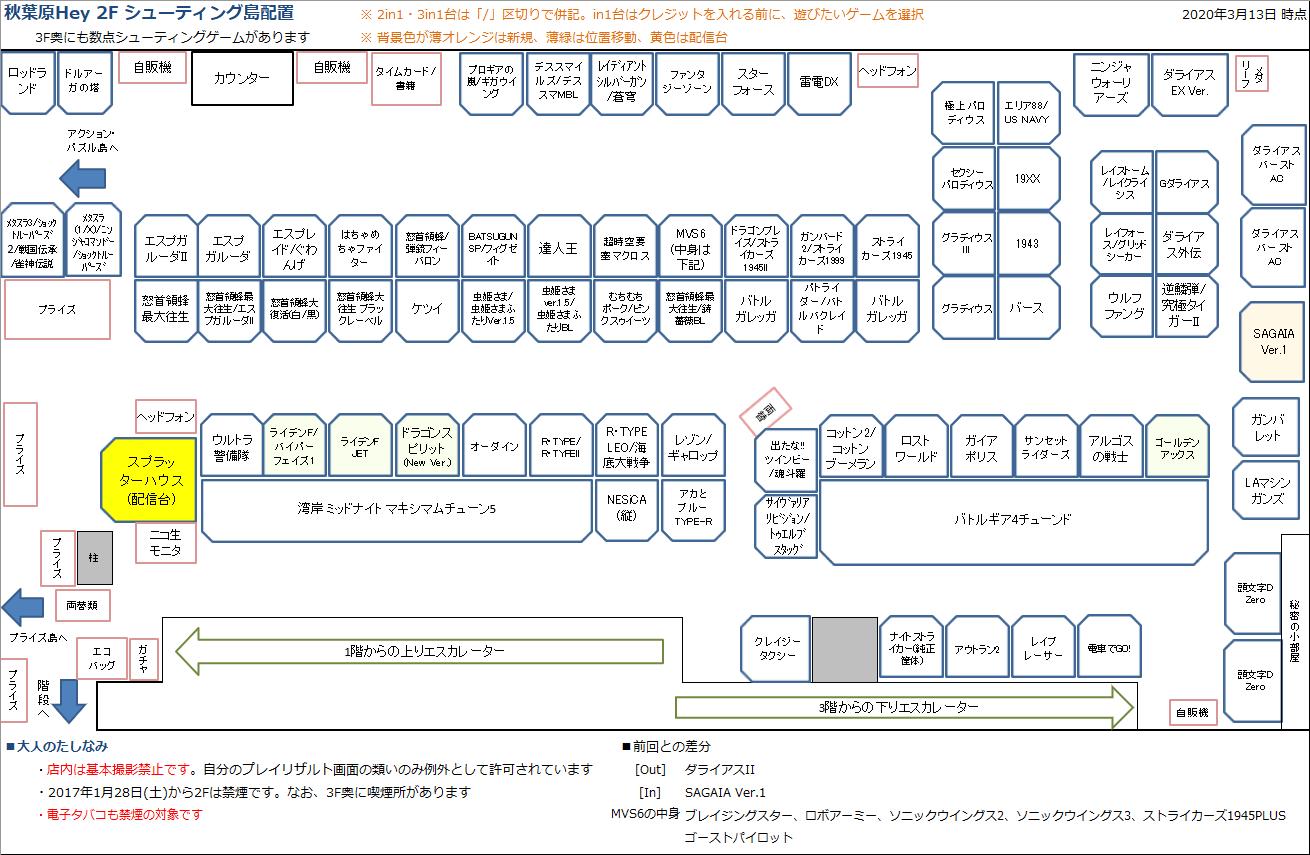 秋葉原Hey 2Fシューティング島の配置図 20200313