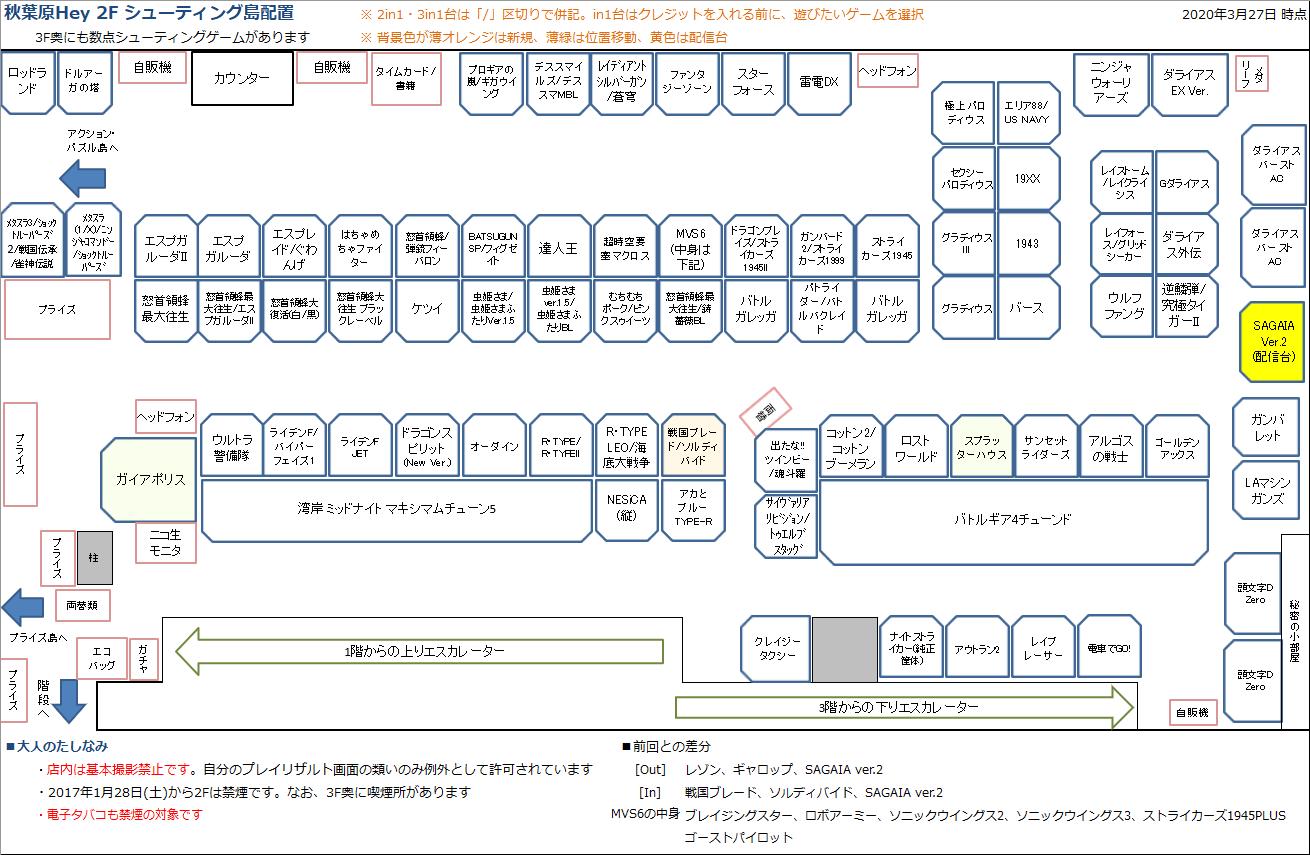秋葉原Hey 2Fシューティング島の配置図 20200327