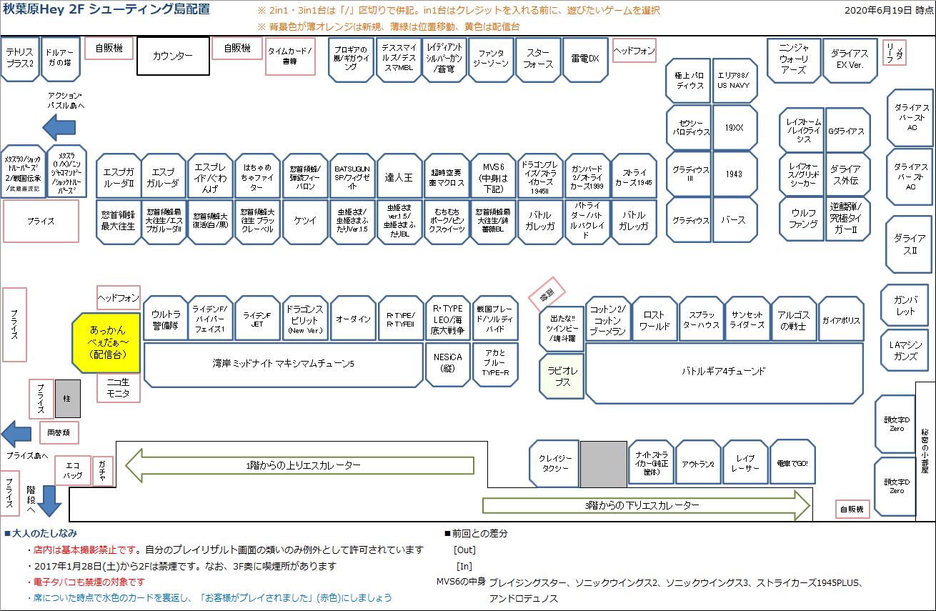 秋葉原Hey 2Fシューティング島の配置図 20200619