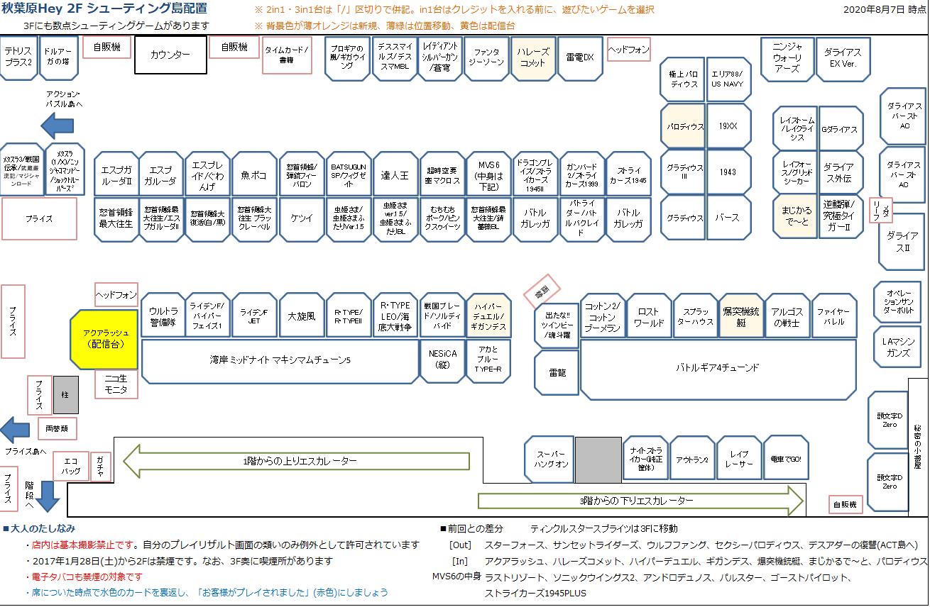 秋葉原Hey 2Fシューティング島の配置図 20200807