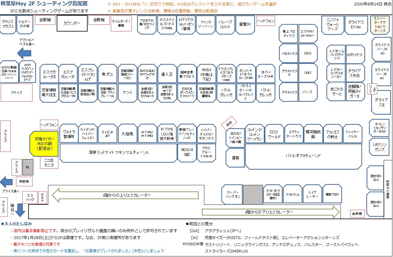 秋葉原Hey 2Fシューティング島の配置図 20200814
