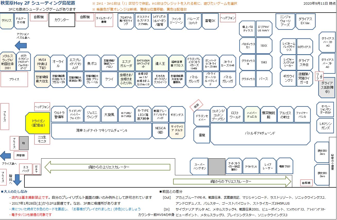 秋葉原Hey 2Fシューティング島の配置図 20200911