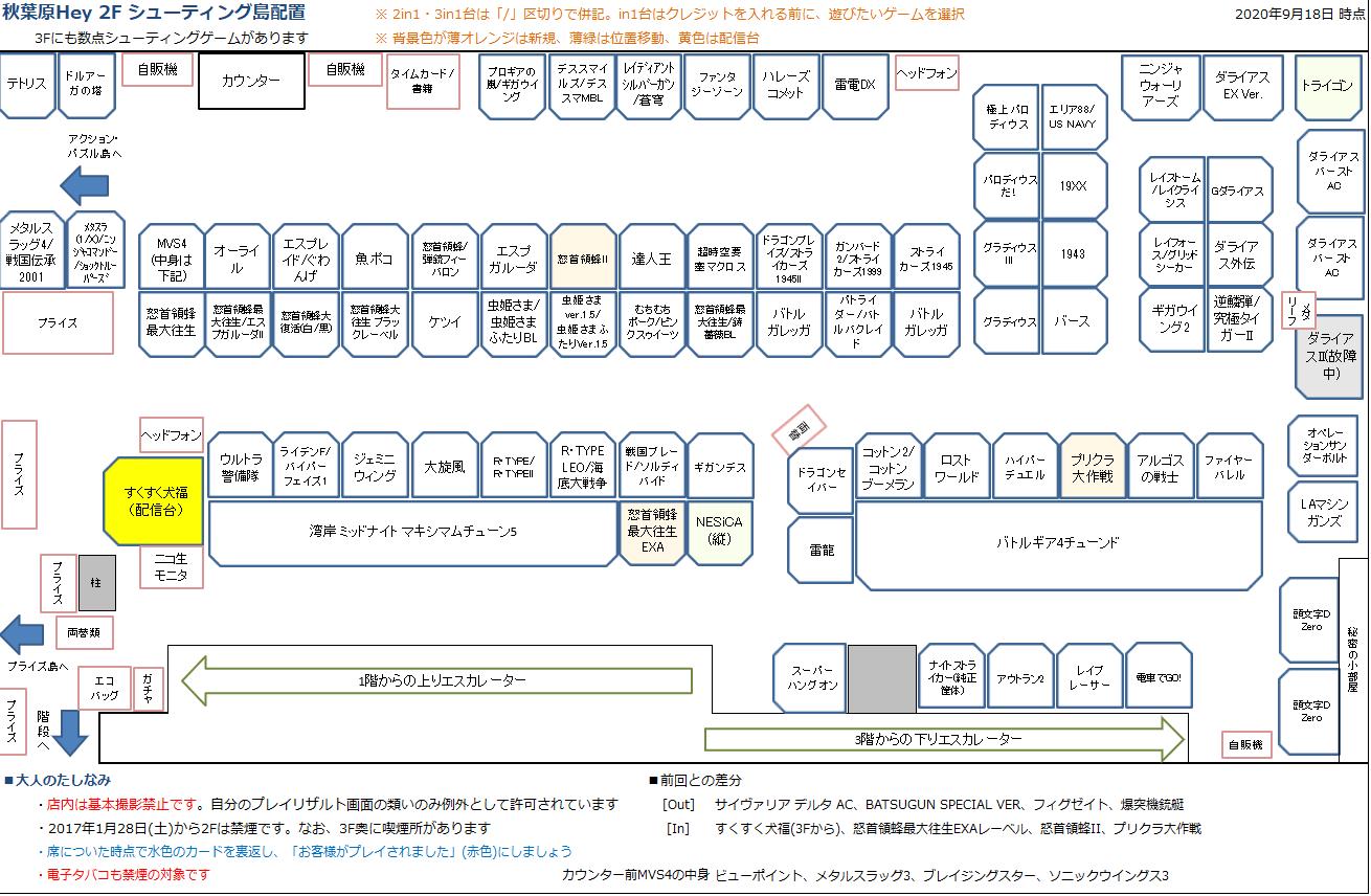 秋葉原Hey 2Fシューティング島の配置図 20200918