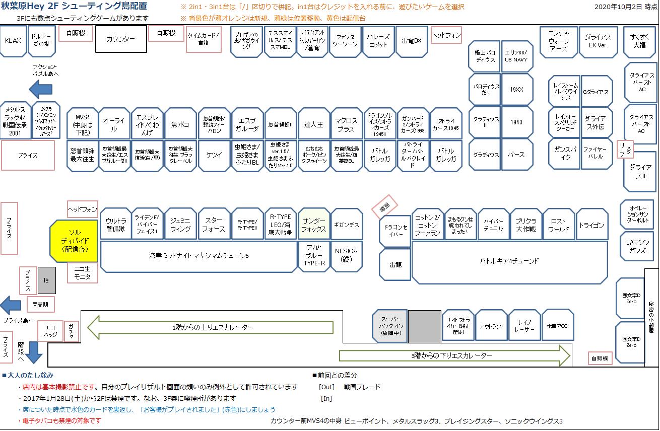 秋葉原Hey 2Fシューティング島の配置図 20201002