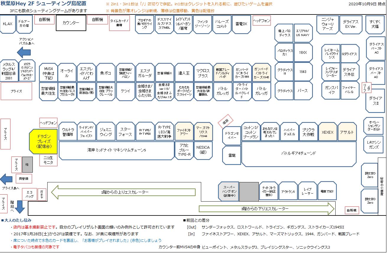 秋葉原Hey 2Fシューティング島の配置図 20201009