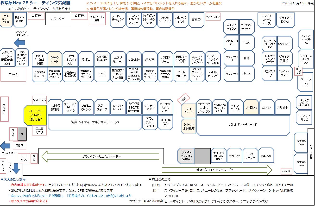 秋葉原Hey 2Fシューティング島の配置図 20201016
