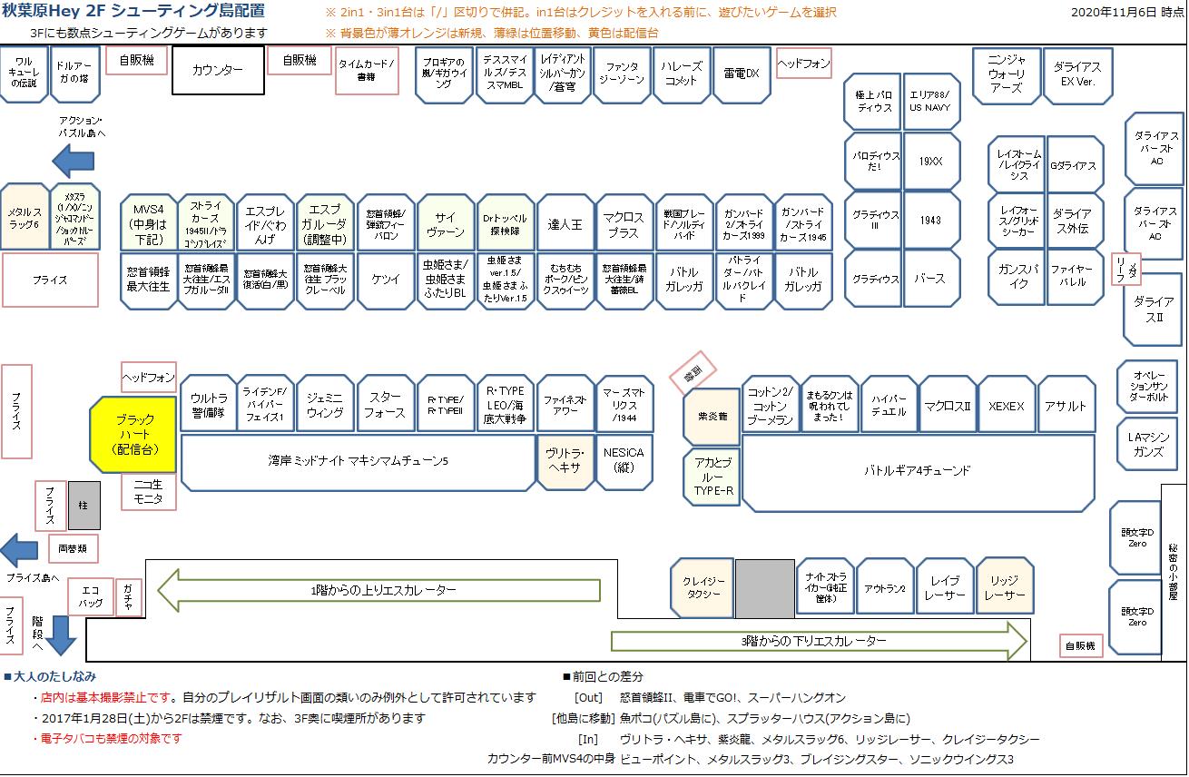秋葉原Hey 2Fシューティング島の配置図 20201106