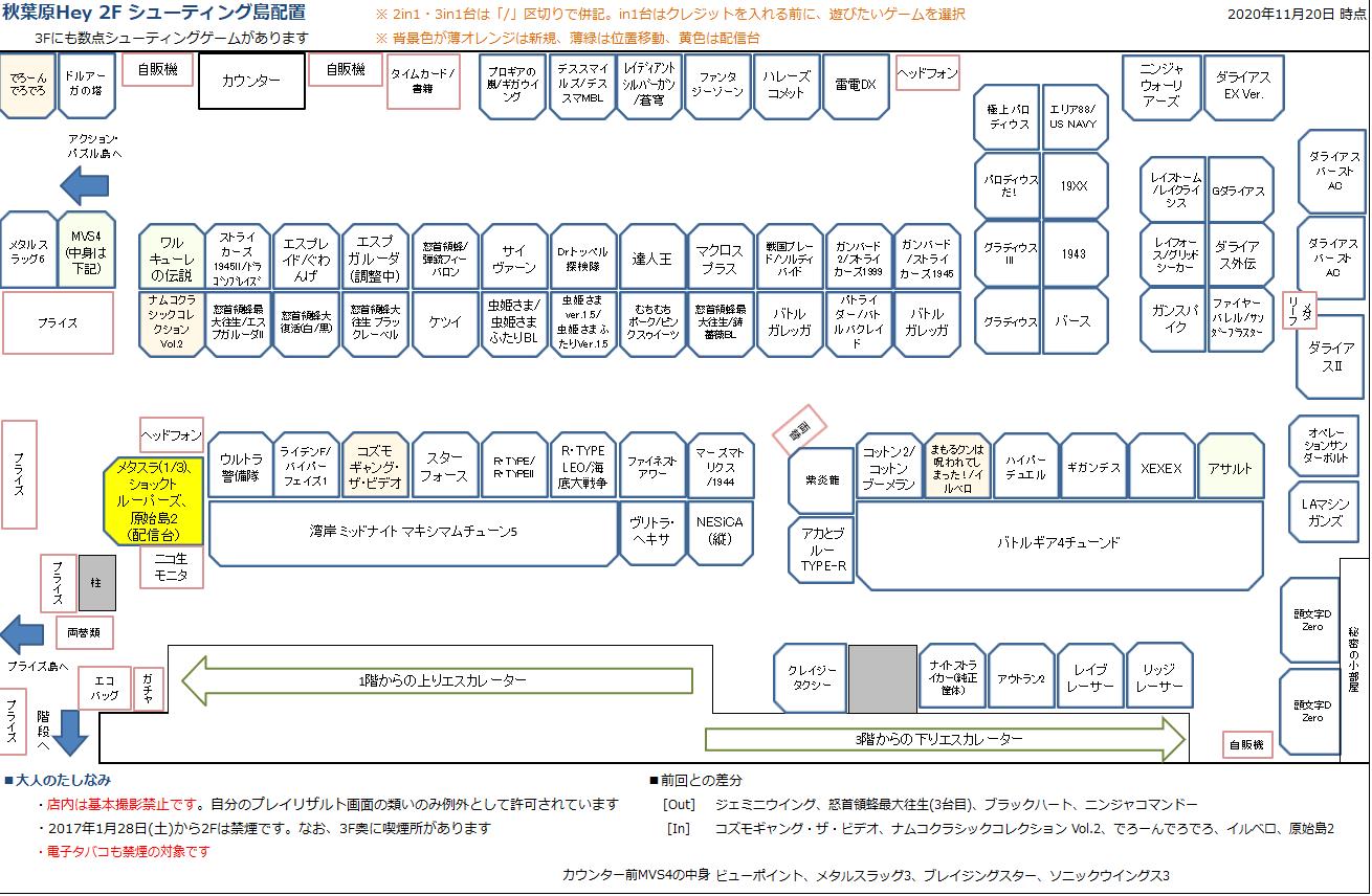 秋葉原Hey 2Fシューティング島の配置図 20201120