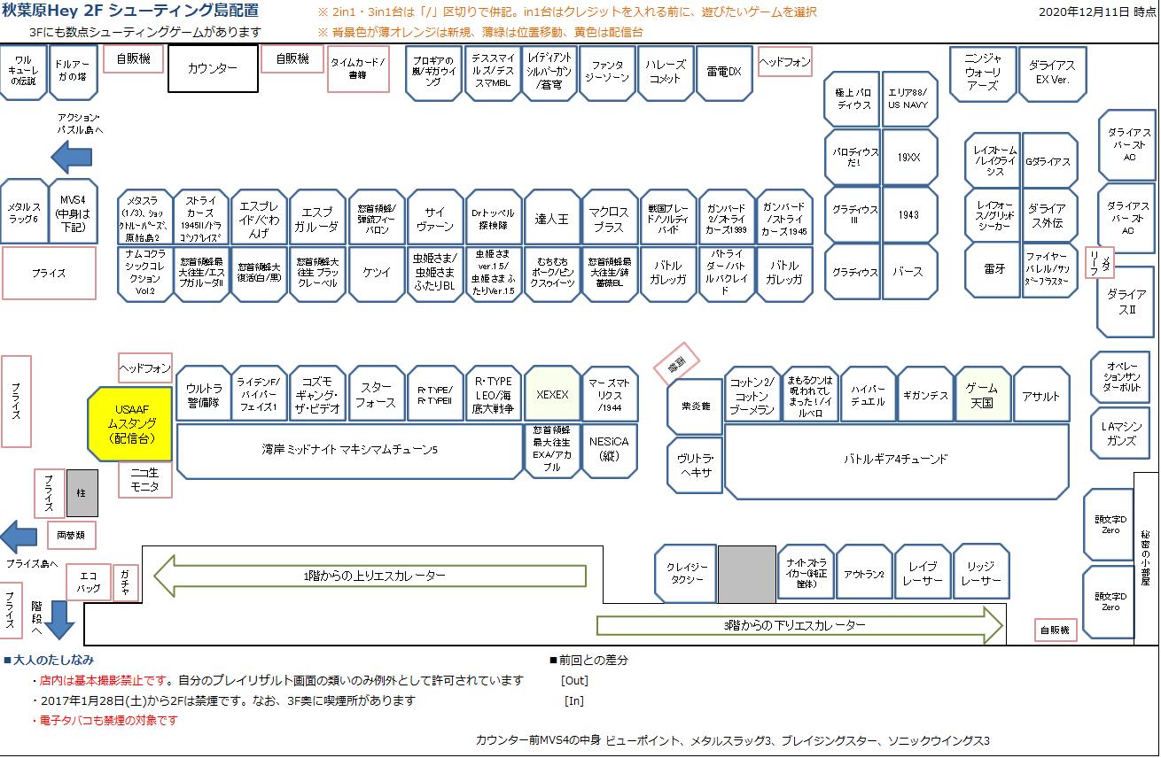 秋葉原Hey 2Fシューティング島の配置図 20201211