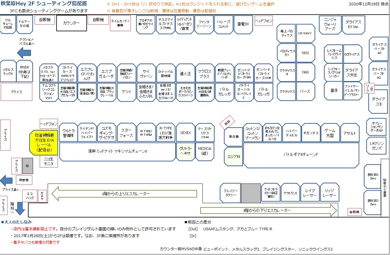 秋葉原Hey 2Fシューティング島の配置図 20201218