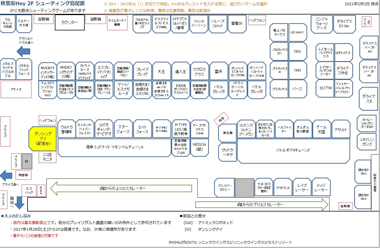 秋葉原Hey 2Fシューティング島の配置図 20210203