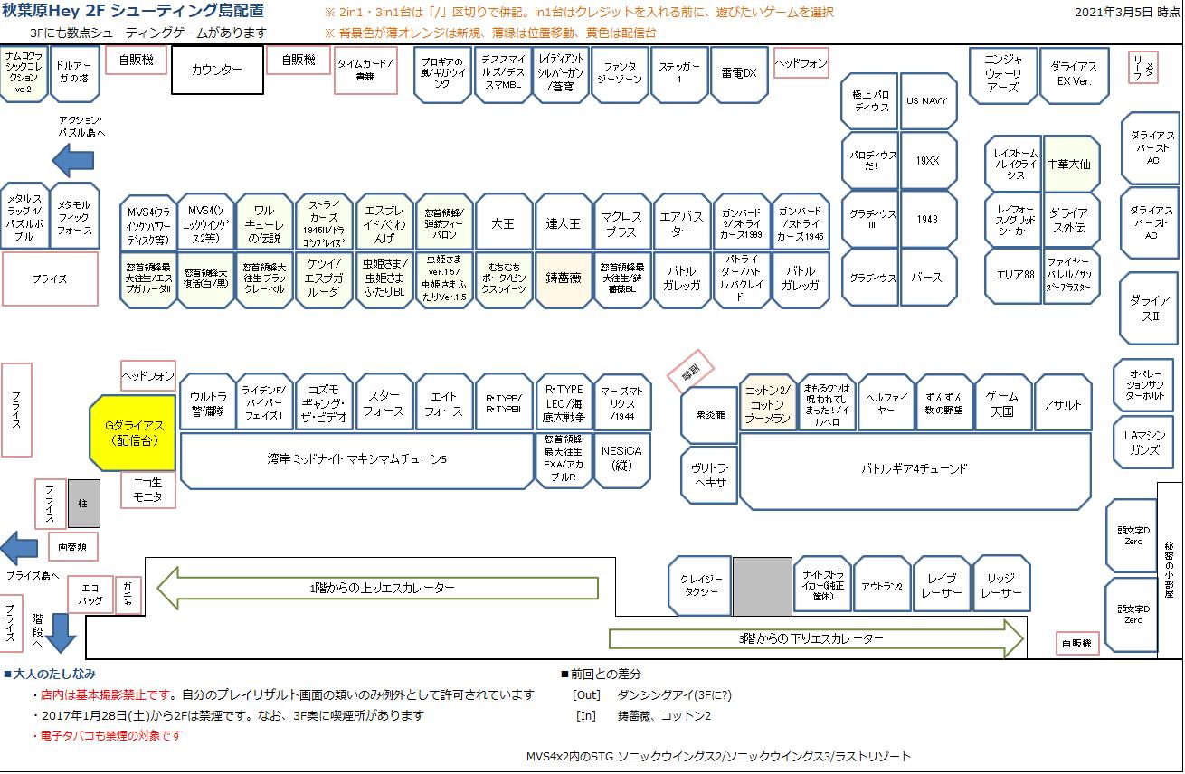 秋葉原Hey 2Fシューティング島の配置図 20210305