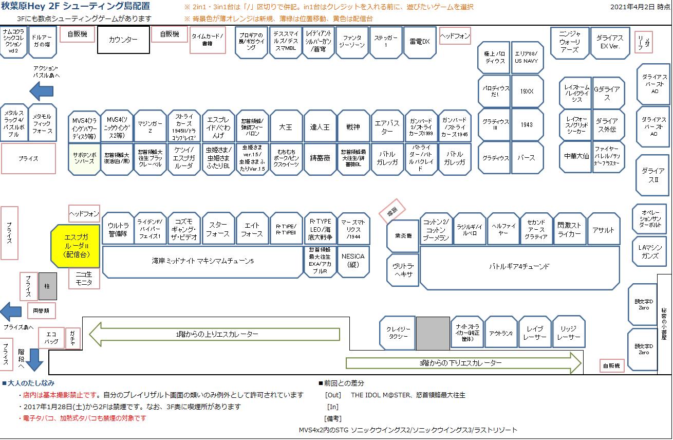 秋葉原Hey 2Fシューティング島の配置図 20210402