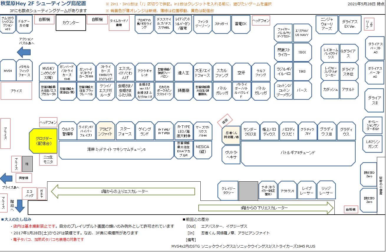 秋葉原Hey 2Fシューティング島の配置図 20210528